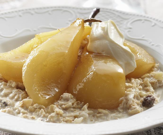 Bircher muesli with caramelised poached pears | Australian ...