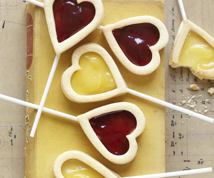Raspberry & Lemon Curd HEART BISCUITS
