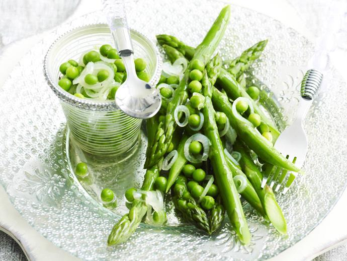 """**[Asparagus salad with spring onion and pea vinaigrette](https://www.womensweeklyfood.com.au/recipes/asparagus-salad-with-spring-onion-and-pea-vinaigrette-13775