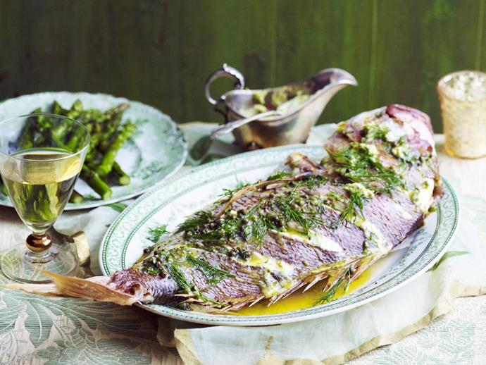 "**Baked snapper with peppercorn and dill butter** <br><br> Served with grilled asparagus, this stunning whole baked snapper is brimming with zesty flavours. <br><br> [**Read the full recipe here**](https://www.womensweeklyfood.com.au/recipes/baked-snapper-with-peppercorn-and-dill-butter-13791|target=""_blank"")"