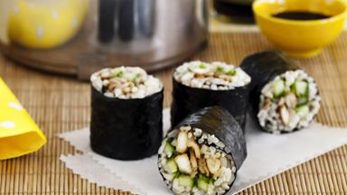Chicken teriyaki brown rice sushi