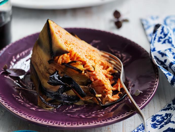 "**[Mediterranean eggplant pasta cake](https://www.womensweeklyfood.com.au/recipes/mediterranean-eggplant-pasta-cake-5831|target=""_blank"")**  A Mediterranean classic dish that looks and tastes delicious."