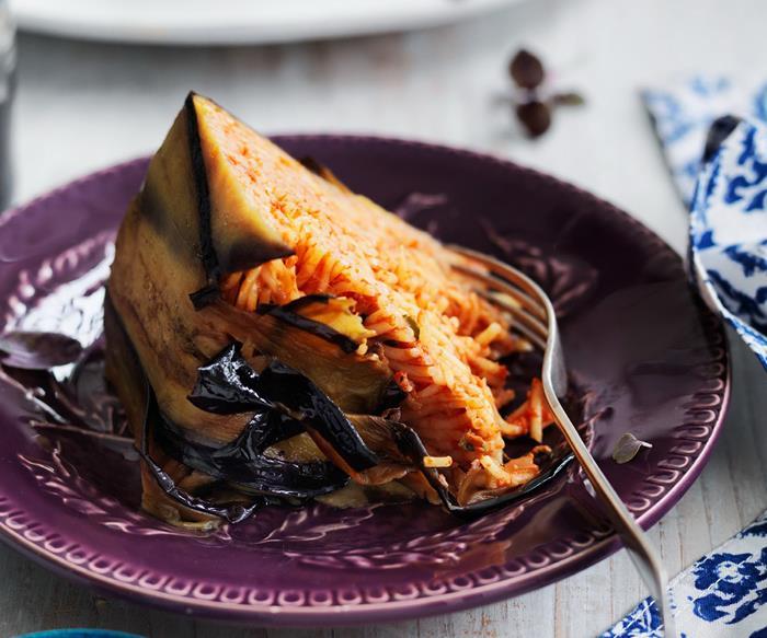 mediterranean eggplant pasta cake