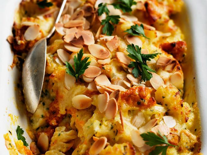 "The perfect combination of cheese and pumpkin with an added crunch from almond creates the [perfect vegetarian bake](https://www.womensweeklyfood.com.au/recipes/cheesy-pumpkin-and-almond-pasta-bake-13958|target=""_blank"")."