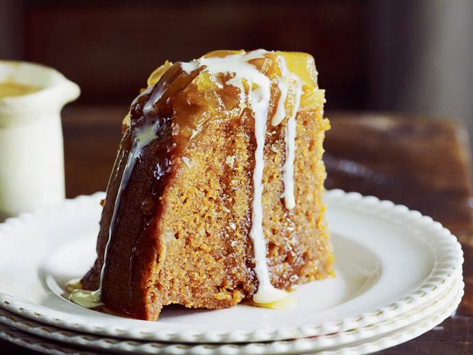 """**[Burnt caramel and ginger steamed pudding with calvados custard](https://www.womensweeklyfood.com.au/recipes/burnt-caramel-and-ginger-steamed-pudding-with-calvados-custard-13962