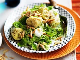 mushy fresh peas with almonds and artichokes