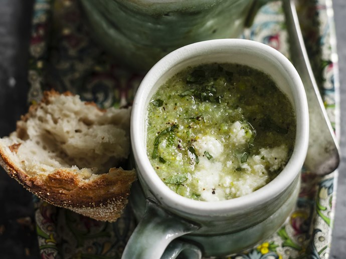 green vegetable, mint and ricotta soup