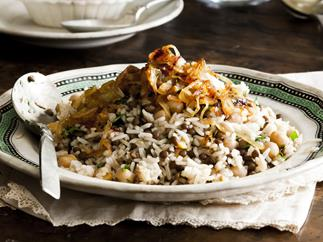 chickpea and lentil rice with fried onion