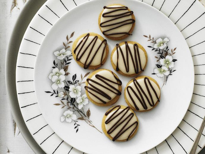 "**[Chocolate coffee cream fancies](https://www.womensweeklyfood.com.au/recipes/chocolate-coffee-cream-fancies-13369|target=""_blank"")**  Sweet coffee biscuits covered with coffee cream and drizzled with dark chocolate are a sophisticated afternoon tea treat."