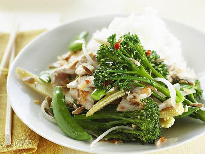"""**[Chicken, mixed vegies and almond stir-fry](https://www.womensweeklyfood.com.au/recipes/chicken-mixed-vegies-and-almond-stir-fry-13378