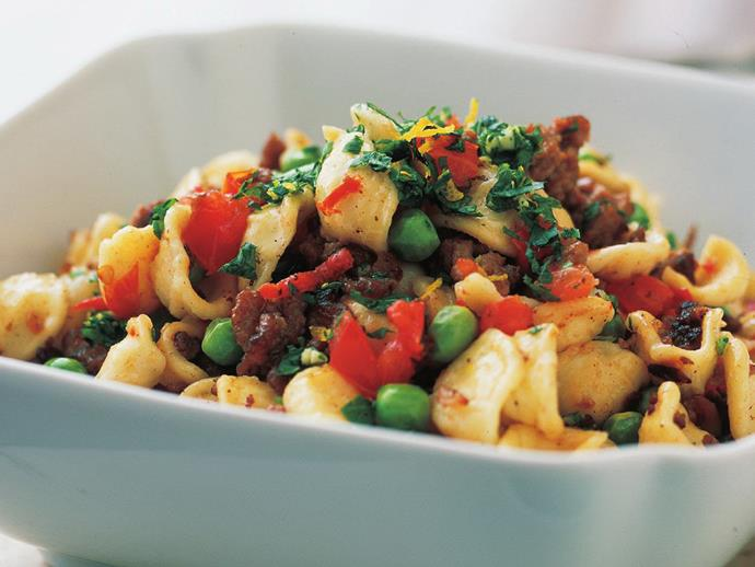 """**[Orecchietti with lamb and peas](https://www.womensweeklyfood.com.au/recipes/orecchietti-with-lamb-and-peas-13445