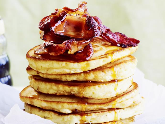 """[American-style flapjacks with bacon and maple syrup recipe.](http://www.foodtolove.com.au/recipes/american-style-flapjacks-with-bacon-and-maple-syrup-20220 target=""""_blank"""")"""