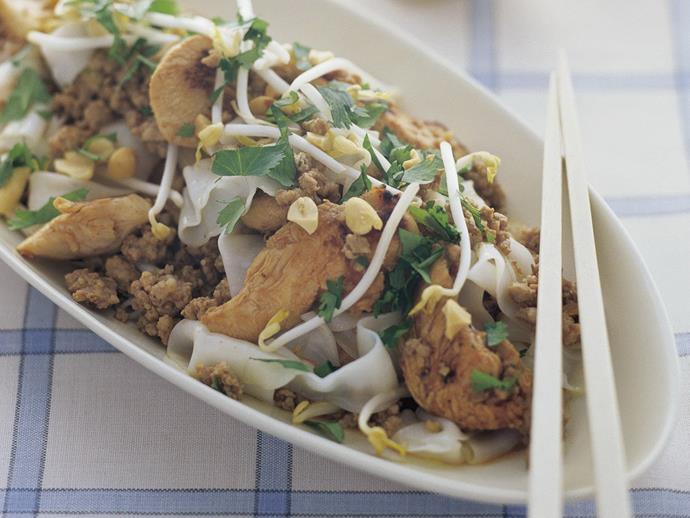 "**[Chicken, pork and rice noodle stir-fry](https://www.womensweeklyfood.com.au/recipes/chicken-pork-and-rice-noodle-stir-fry-13452|target=""_blank"")**"