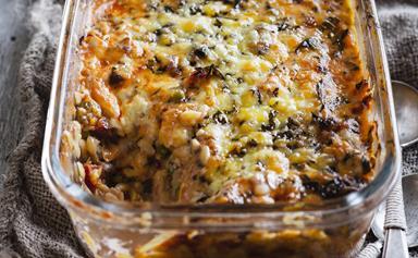 Chicken and risoni pasta bake