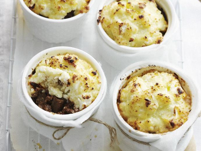 """**[Lamb and eggplant pot pies with fetta crust](https://www.womensweeklyfood.com.au/recipes/lamb-and-eggplant-pot-pies-with-fetta-crust-13471