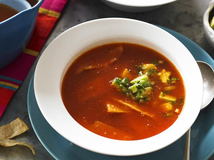 "**[Tortilla lime soup](https://www.womensweeklyfood.com.au/recipes/tortilla-lime-soup-13507|target=""_blank"")**  A warming and zesty classic Mexican soup, called sopa de lima, from the Yucatan region."