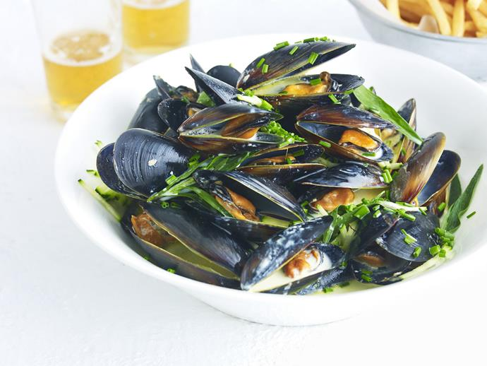 """**[Mussels with beer](https://www.womensweeklyfood.com.au/recipes/mussels-with-beer-5638