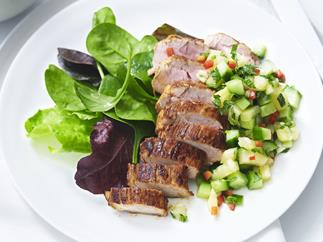 pork with pineapple and cucumber salsa
