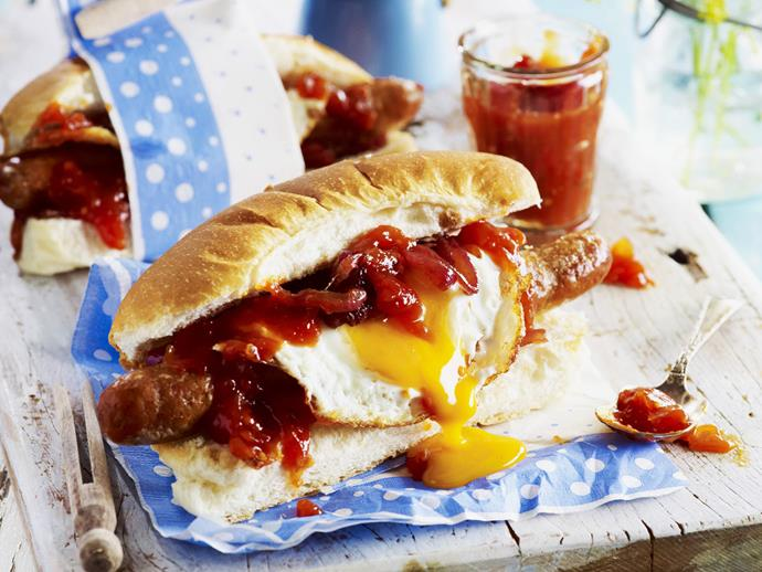 "**[Breakfast hot dog](https://www.womensweeklyfood.com.au/recipes/breakfast-hot-dog-13640|target=""_blank"")**"