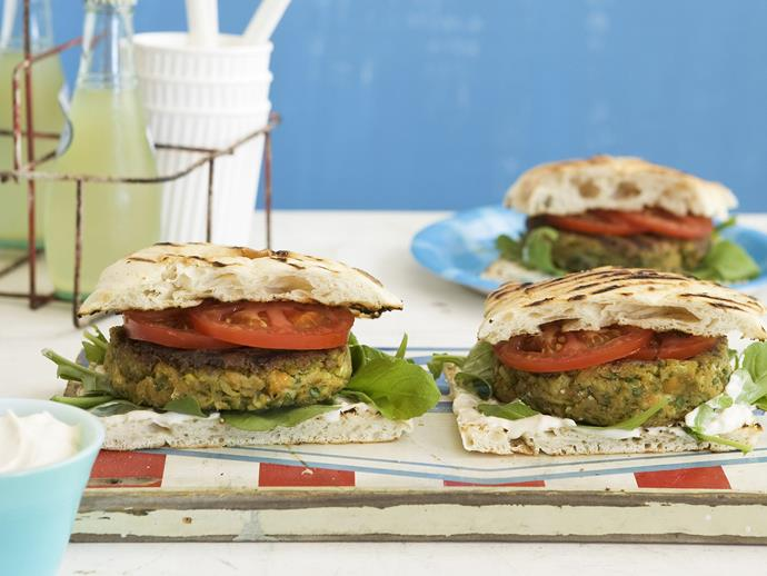 "**[Felafel burgers](https://www.womensweeklyfood.com.au/recipes/felafel-burgers-13651|target=""_blank"")** Made with a chickpea felafel patty and a tahini yoghurt sauce between low-fat turkish bread, these vegetarian felafel burgers are a healthy and hearty choice"