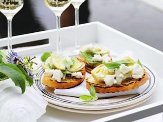 artichoke and fetta bruschetta