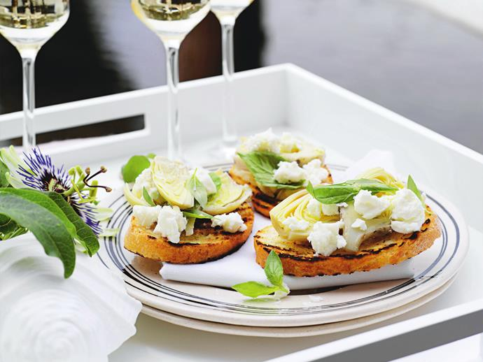 "**[Artichoke and feta bruschetta](https://www.womensweeklyfood.com.au/recipes/artichoke-and-feta-bruschetta-13661|target=""_blank"")**  This delicious spin on traditional bruschetta is a perfect starter for a summer barbecue."