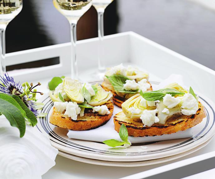 artichoke and fetta bruschetta