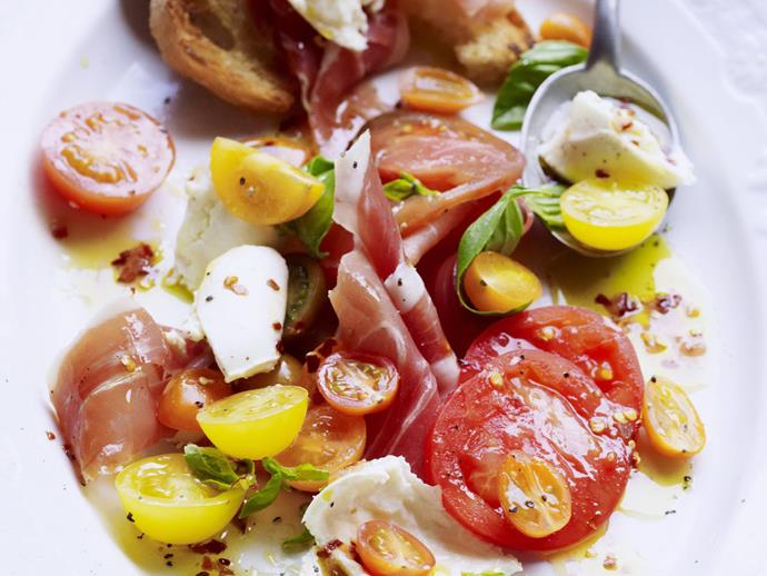 "**Heirloom tomato salad with prosciutto** <br><br> The combination of fresh mixed tomatoes, creamy buffalo mozzarella and cured prosciutto works perfectly together in this fresh summer salad. <br><br> [**Read the full recipe here**](https://www.womensweeklyfood.com.au/recipes/heirloom-tomato-salad-with-prosciutto-13667|target=""_blank"")"