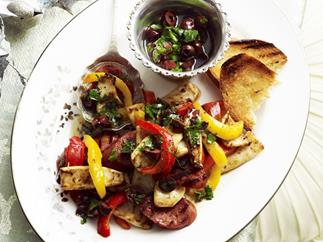 barbecued squid and chorizo with black olive and parsley dressing