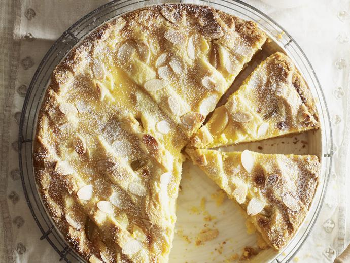 """[Poached pear and polenta tart.](https://www.womensweeklyfood.com.au/recipes/poached-pear-and-polenta-tart-5541