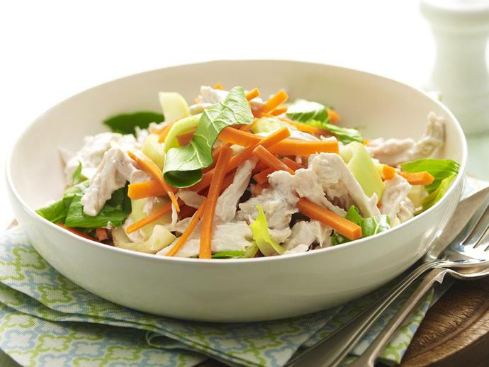 "A healthy and easy [warm coconut chicken salad](https://www.womensweeklyfood.com.au/recipes/warm-coconut-chicken-salad-13124|target=""_blank"")."