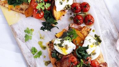 Bacon, egg and pumpkin feast bruschetta