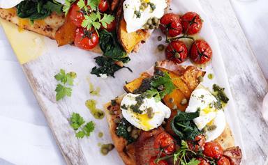 Bacon, egg and pumpkin feast bruschetta