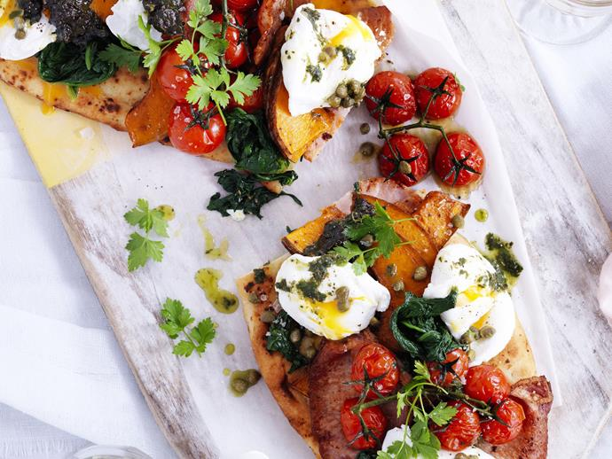 "**[Bacon, egg and pumpkin feast bruschetta](https://www.womensweeklyfood.com.au/recipes/bacon-egg-and-pumpkin-feast-bruschetta-13144|target=""_blank"")**  There is nothing more satisfying than a hearty meal to start the day. This breakfast bruschetta sets a high benchmark."