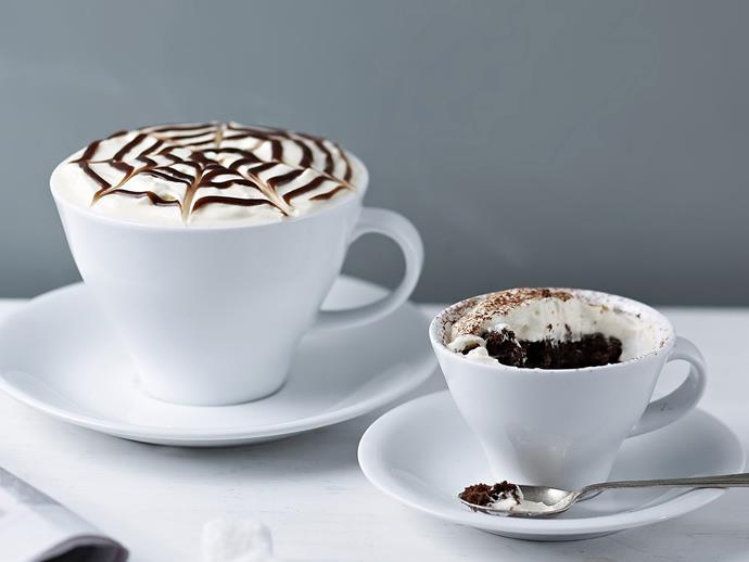 "This [mochacino mud cake](https://www.womensweeklyfood.com.au/recipes/mochaccino-mud-cake-5573|target=""_blank"") is cleverly disguised as a delicious chococolate-infused coffee underneath whipped cream and beautiful latte art!"