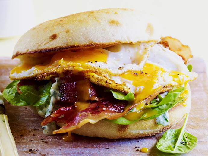"""[Bacon and egg roll with herb aioli](http://www.foodtolove.com.au/recipes/bacon-and-egg-roll-with-herb-aioli-15252