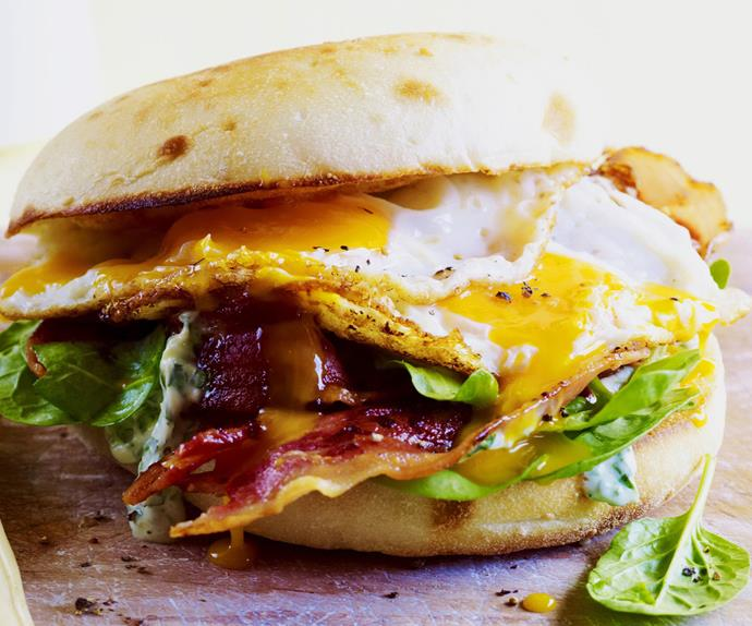 bacon and egg roll with herb aïoli