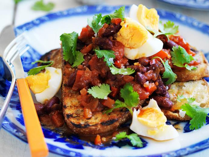 "**[Kidney beans with eggs and coriander](https://www.womensweeklyfood.com.au/recipes/kidney-beans-with-eggs-and-coriander-13172|target=""_blank"")**"