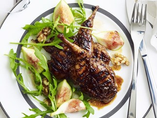 barbecued quail with fig and walnut salad