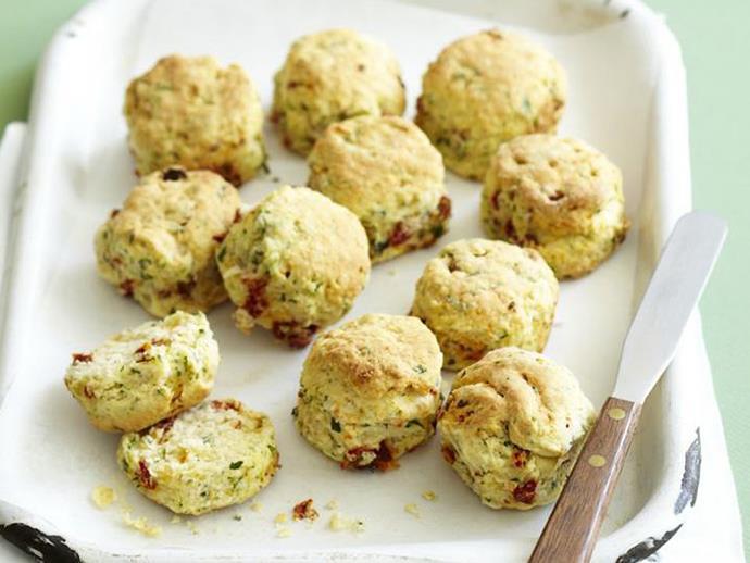 """**[Sun-dried tomato scones](https://www.womensweeklyfood.com.au/recipes/sun-dried-tomato-scones-5387 target=""""_blank"""")**"""
