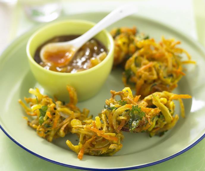 spicy carrot and zucchini bhaji