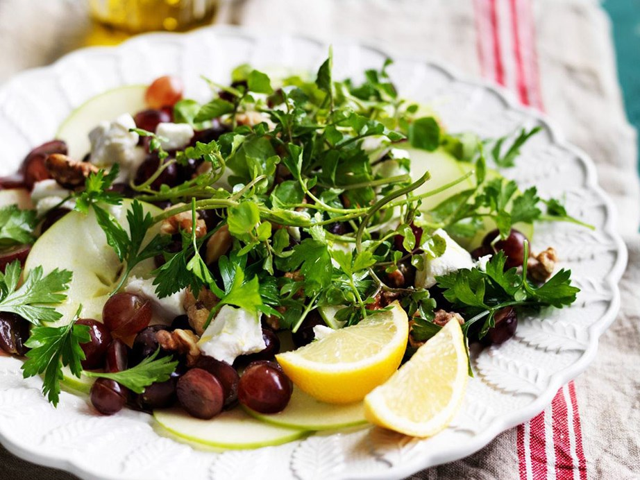 "**[Grape and apple salad with goat's cheese](https://www.womensweeklyfood.com.au/recipes/grape-and-apple-salad-with-goats-cheese-5400|target=""_blank"")** <br><br> An exotic salad with grapes, apples and goat's cheese."