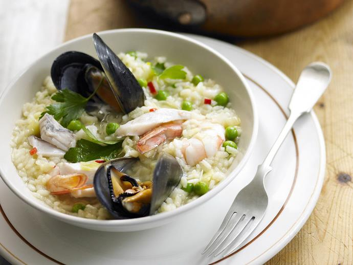 """Making risotto can be a meditative task, the stirring and ladling with a wooden spoon in one hand and a glass of wine in the other. This [chilli seafood risotto](https://www.womensweeklyfood.com.au/recipes/chilli-seafood-risotto-13271