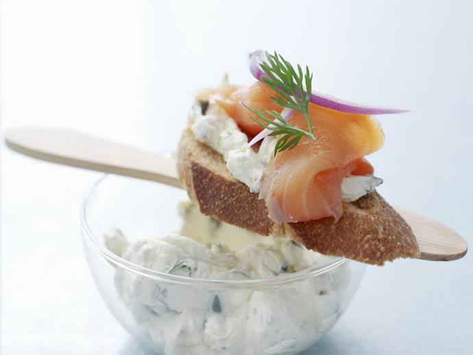 "Serve this delicious [smoked salmon bruschetta](https://www.womensweeklyfood.com.au/recipes/smoked-salmon-bruschetta-13291|target=""_blank"") to your guests at your next gathering. Topped with a sprig of fresh dill, and served with a glass of bubbles, they will be sure to please."