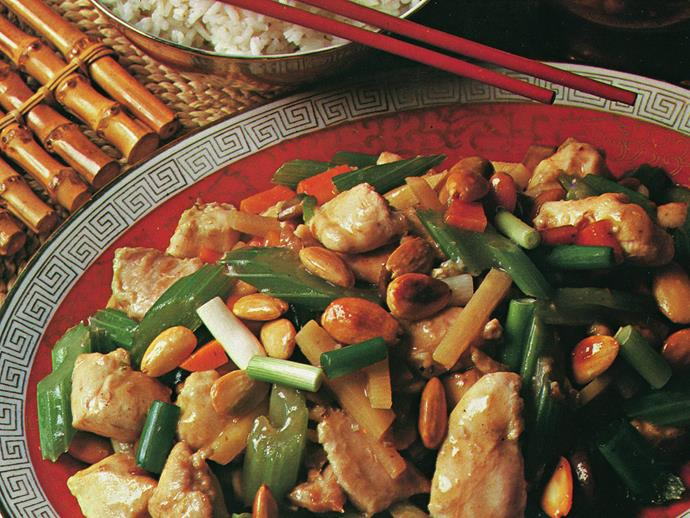 """A classic Chinese stir-fry, [chicken with almonds](https://www.womensweeklyfood.com.au/recipes/chicken-and-almonds-13310