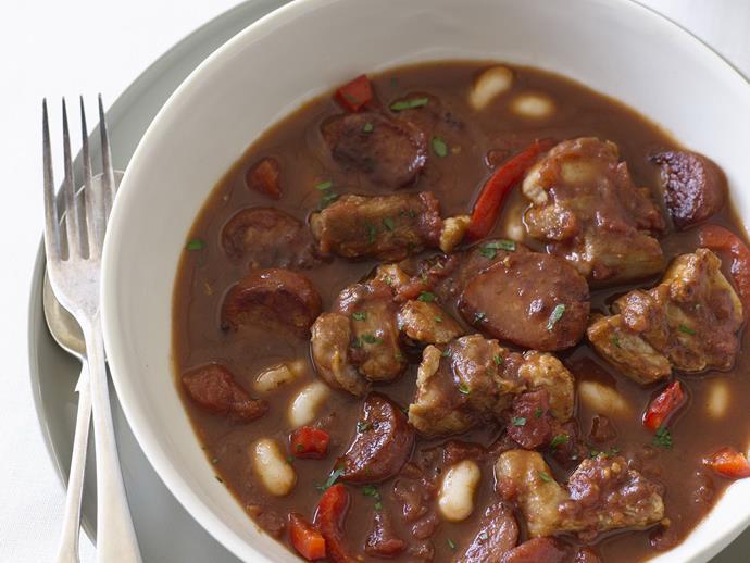 "**[Pork belly and chorizo stew](https://www.womensweeklyfood.com.au/recipes/pork-belly-and-chorizo-stew-13333|target=""_blank"")**"