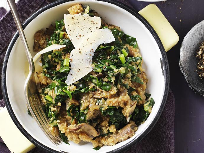 "**[Mushroom, cavolo nero and quinoa risotto](http://www.womensweeklyfood.com.au/recipes/mushroom-cavolo-nero-and-quinoa-risotto-5439|target=""_blank"")**"
