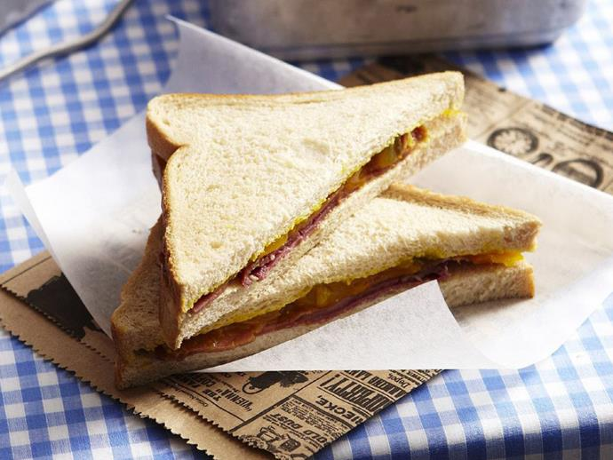 "**[Corned beef and pickle sandwiches](https://www.womensweeklyfood.com.au/recipes/corned-beef-and-pickle-sandwiches-12720|target=""_blank"")**"