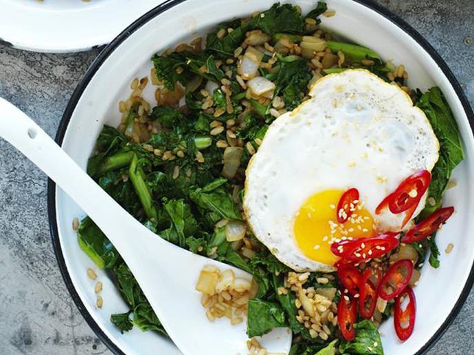 "[Brown rice and kale stir-fry](https://www.womensweeklyfood.com.au/recipes/brown-rice-and-kale-stir-fry-12722|target=""_blank"")"