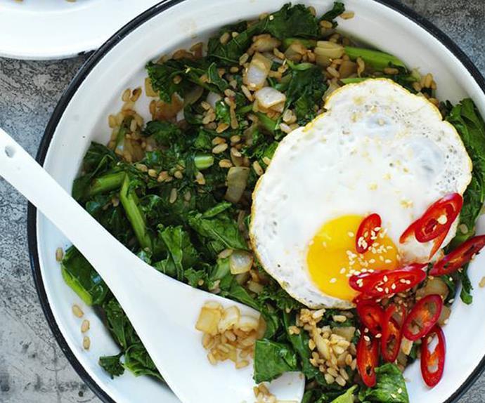 brown rice and kale stir-fry